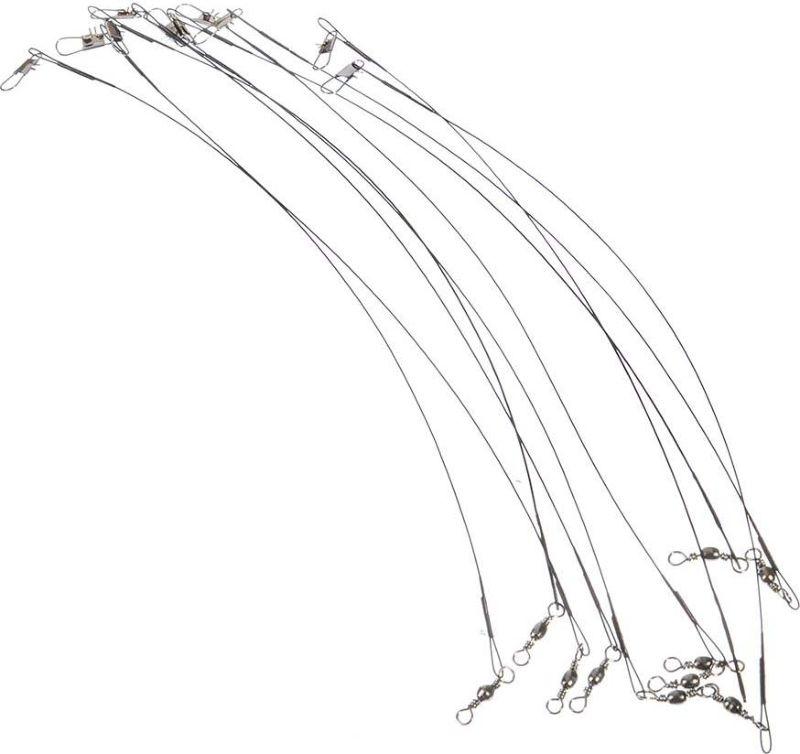 Набор поводков AzorFishing, черный, 25 см, 10 кг, 10 шт