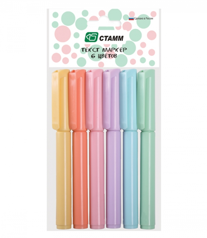 Фото - Набор маркеров Стамм Pastel 6цв., линия письма 1-5мм набор маркеров с магнитом 5 цветов