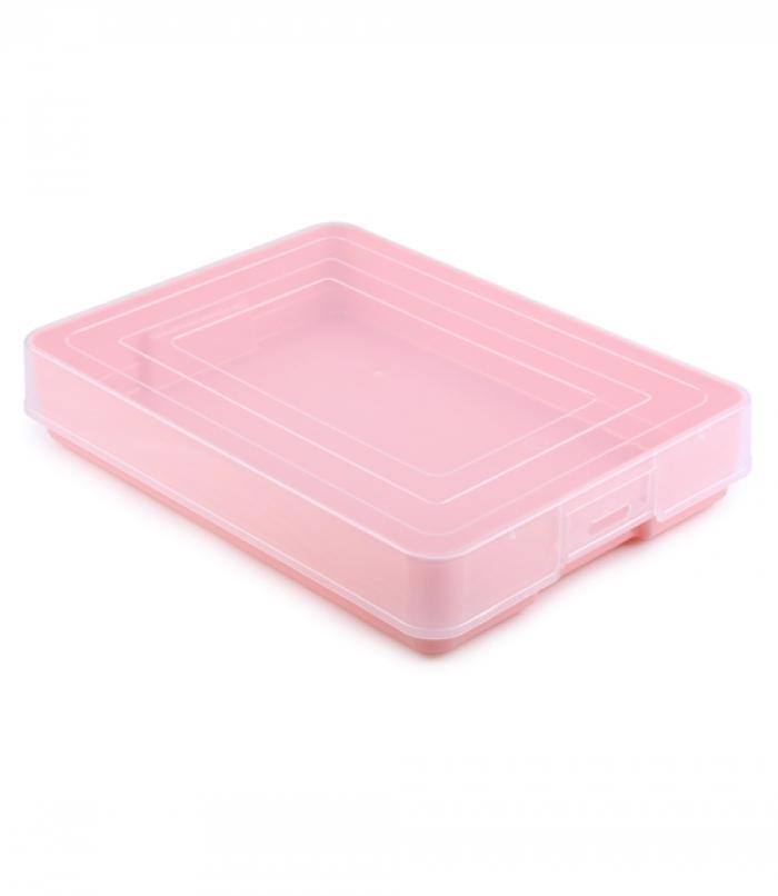 Коробка для хранения Стамм Контейнер хозяйственный с защёлками Pastel, розовый