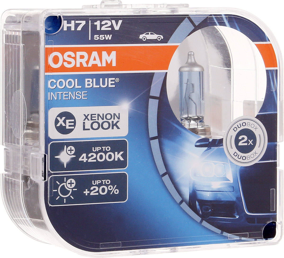 Лампа автомобильная галогенная Osram Cool Blue Intense, для фар, цоколь H7 (PX26d), 12V, 55W, 2 шт автомобильная лампа h7 55w blue vision plus 2 шт philips