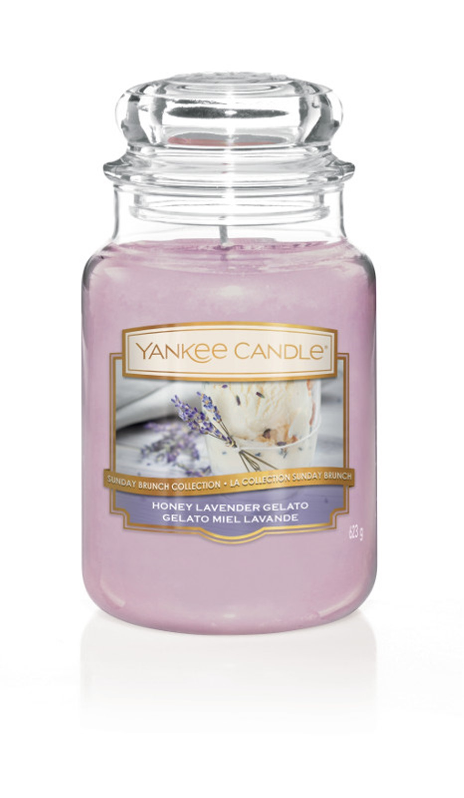 Свеча ароматизированная Yankee Candle Медово-лавандовый пломбир Honey Lavender Gelato 623 гр / 110-150 часов1521680E, сиреневый ароматическая свеча yankee candle summer peach jar candle объем 623 г 623 мл