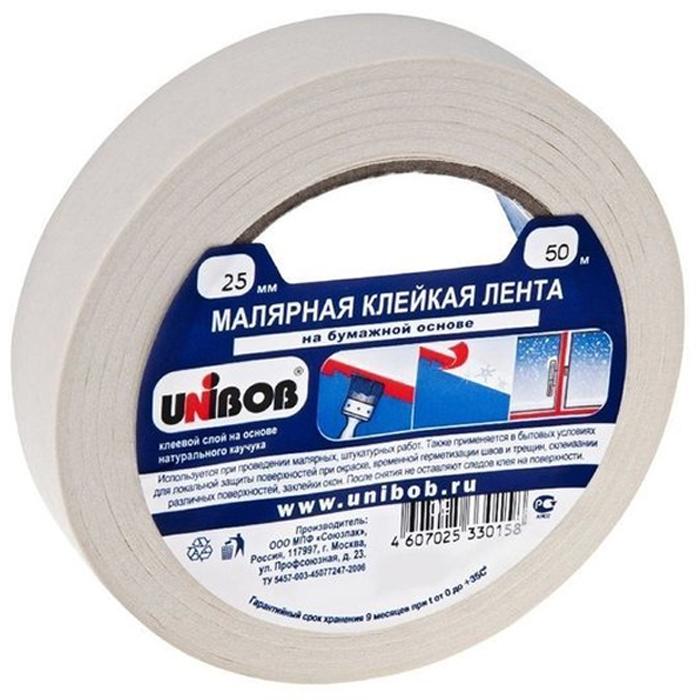 Unibob Малярный скотч (клейкая лента) 25 мм х 50 м, белая лента малярная unibob 50 мм х 50 м