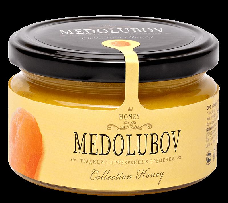 Мед Медолюбов с курагой, 250г б ю александров масса творожная с курагой 23% 100 г
