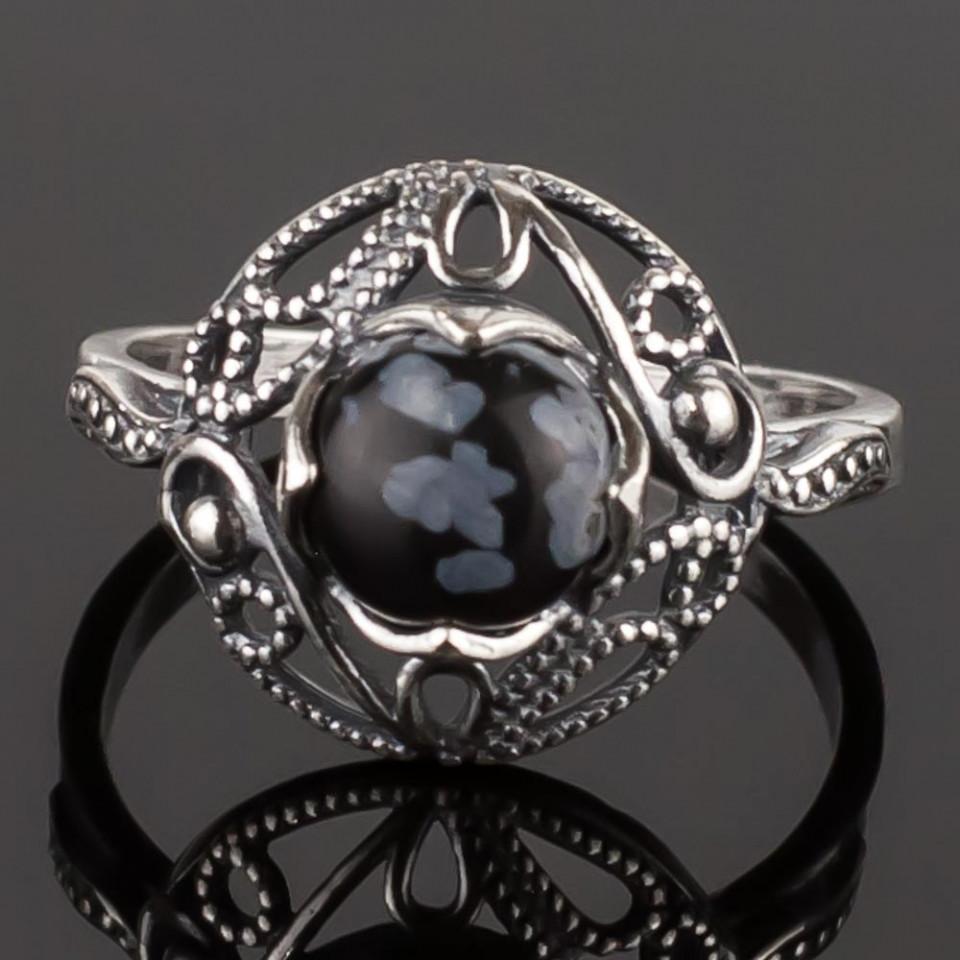 Кольцо бижутерное Мастерская Крутовых мк-8423_р.18,5, Бижутерный сплав, Обсидиан, серый