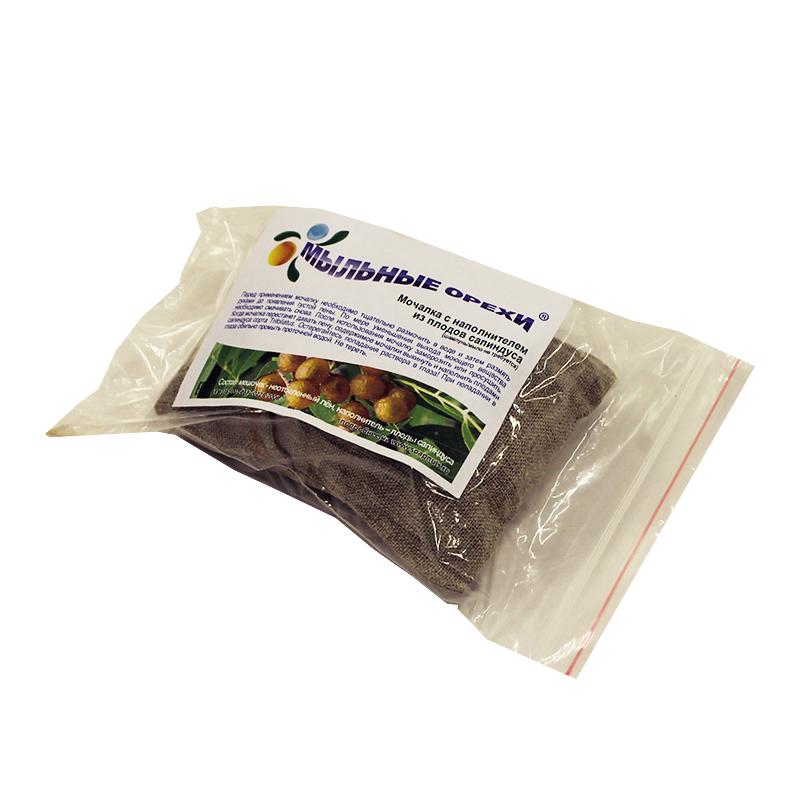 Мочалка Мыльные Орехи в мешочке из неотбеленного льна цена
