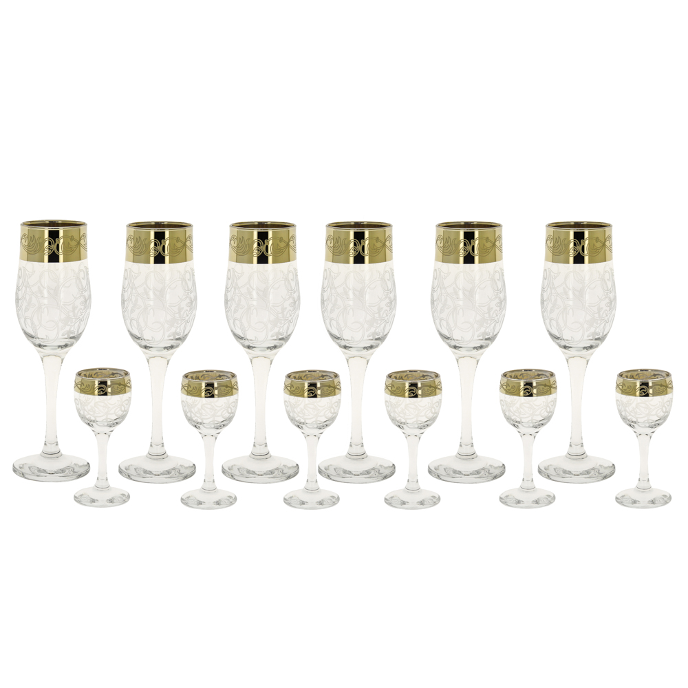 Набор бокалов Rich Line Home Decor Золото в белом 4576, прозрачный, золотой, белый рюмка бюро находок сними напряжение цвет прозрачный