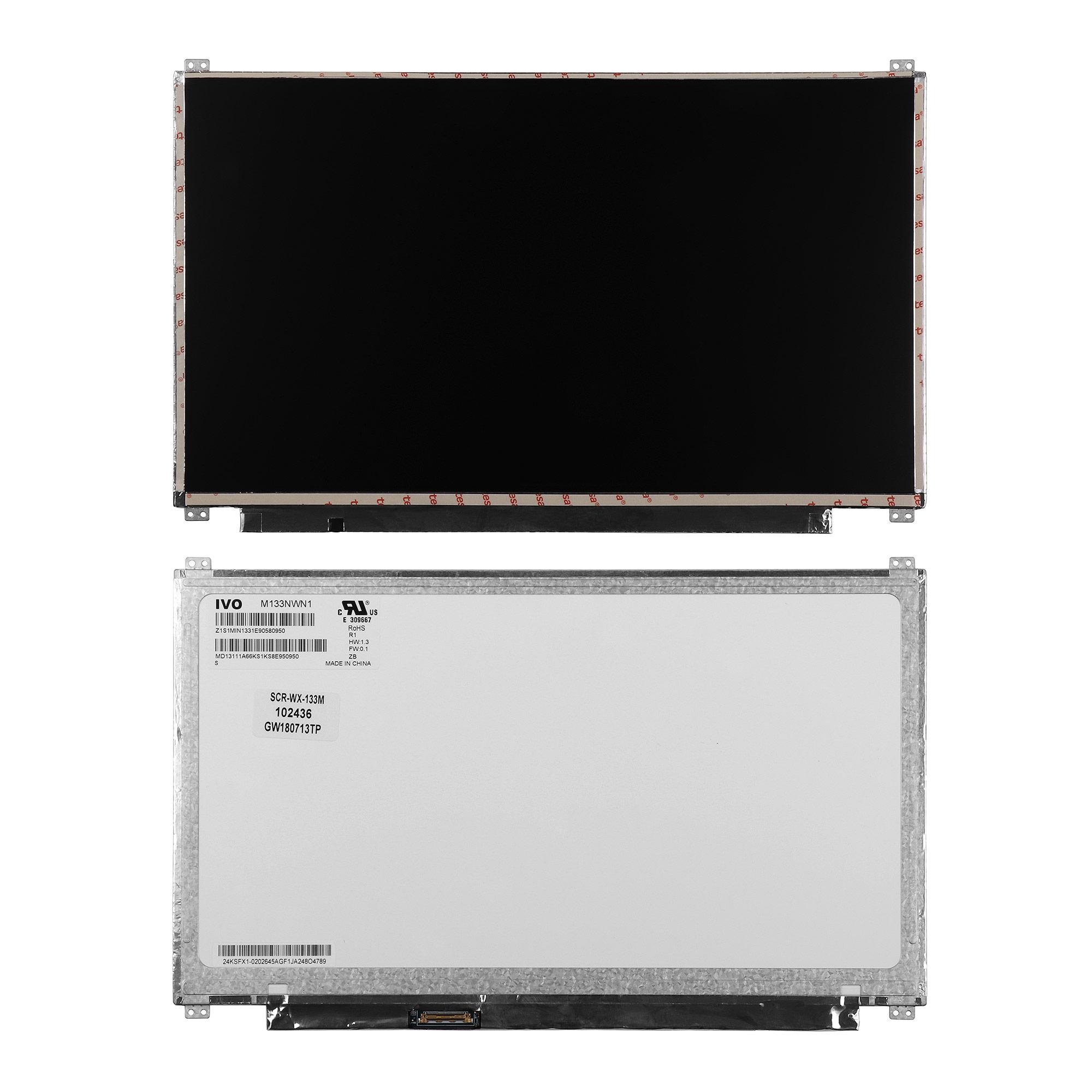 Запчасти для ремонта теле, видео, аудио 13.3 1366x768 WXGA HD 30 pin Slim LED крепления сверху/снизу (уши). Разъем слева. Матовая. PN: M133NWN1.