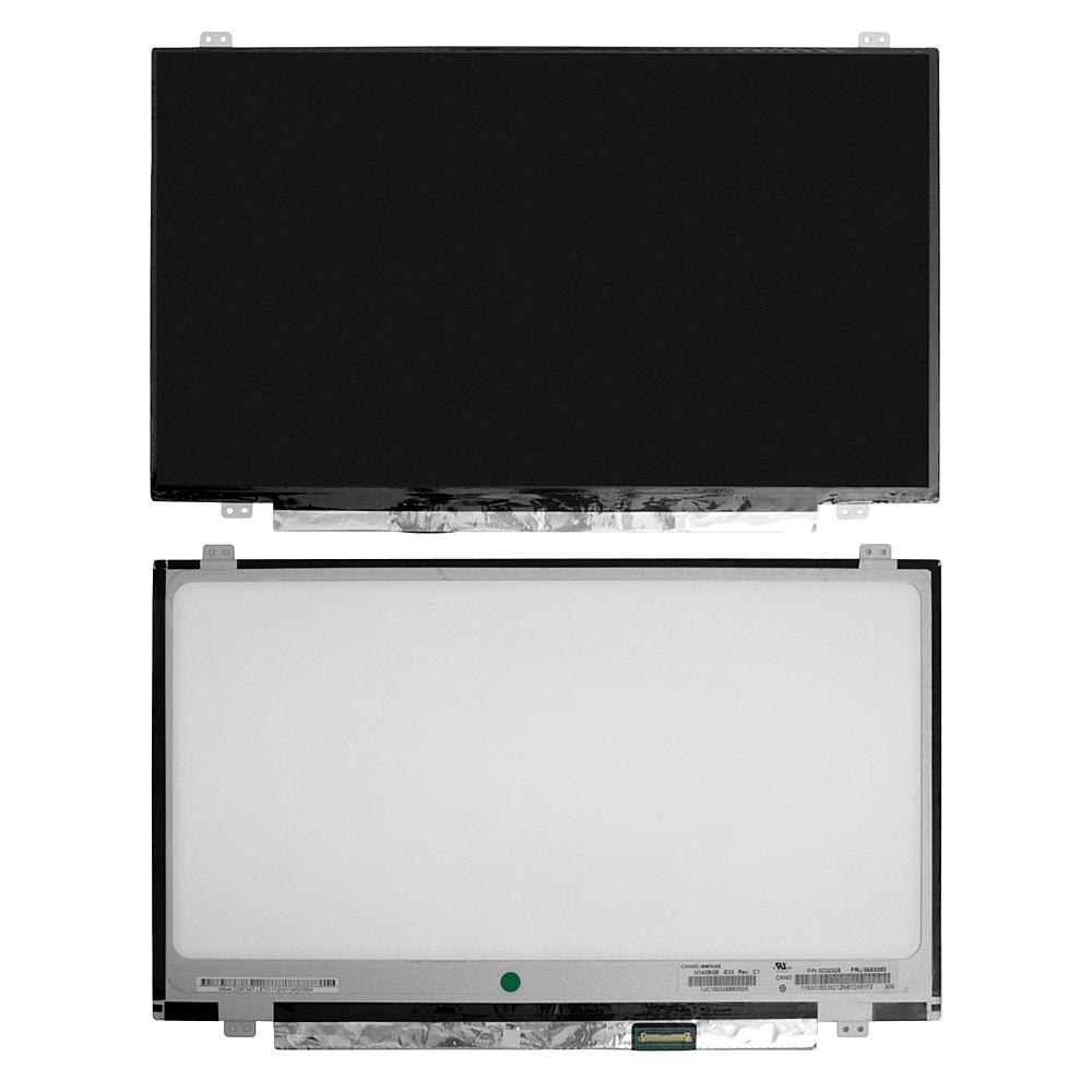 Матрица для ноутбука 14.0 1366x768 WXGA, 30 pin Slim LED, крепления сверху/снизу (уши). Матовая. PN: N140BGE-E33, LTN140AT30, LP140WH2 (TP)(T1).
