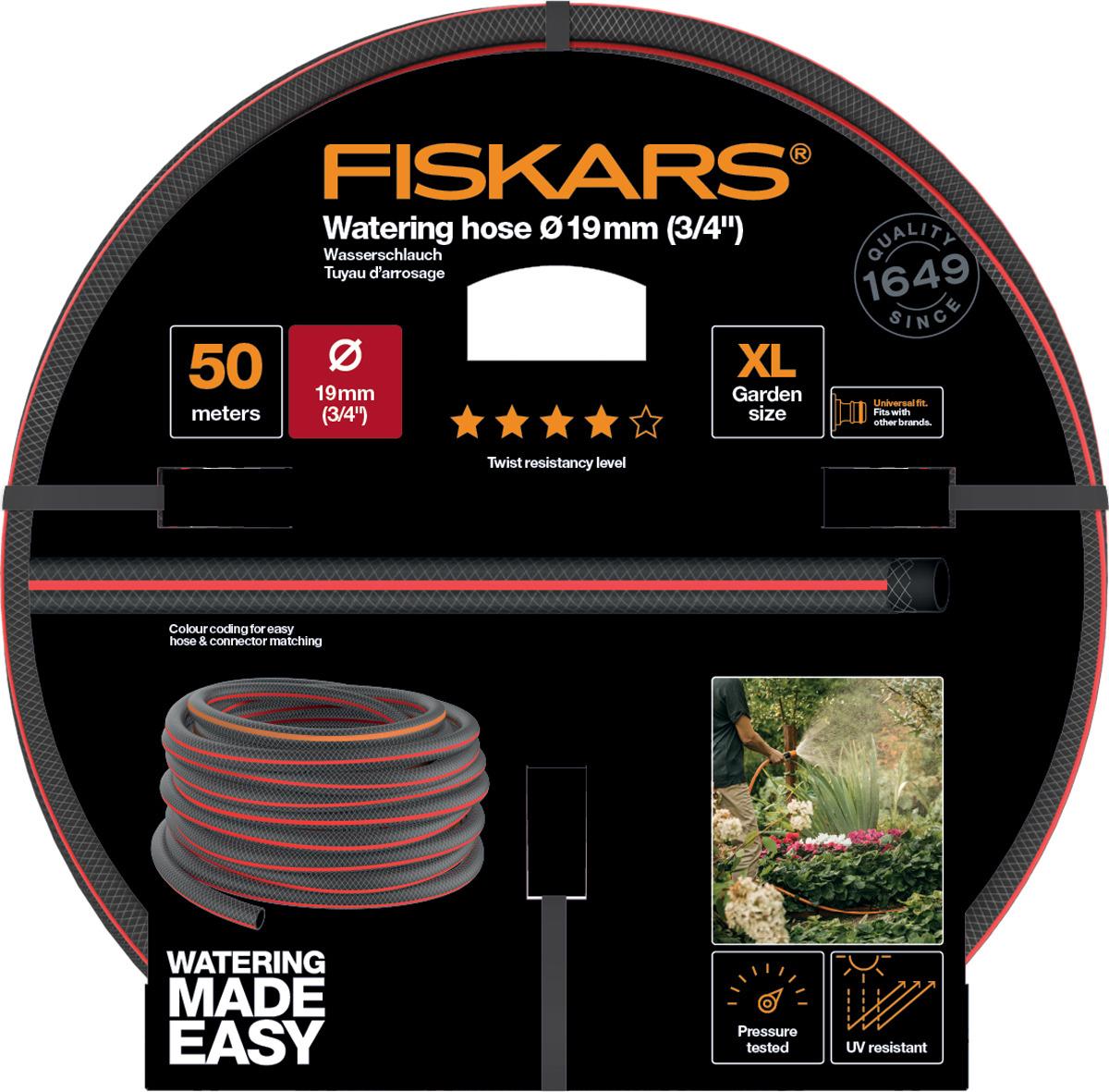 Шланг поливочный Fiskars, 1027111, черный, оранжевый, 3/4, 50 м шланги для огорода