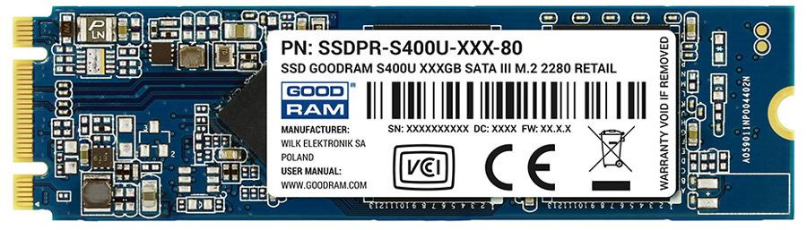 SSD диск GOODRAM S400u M.2 2280, 120 ГБ цена и фото