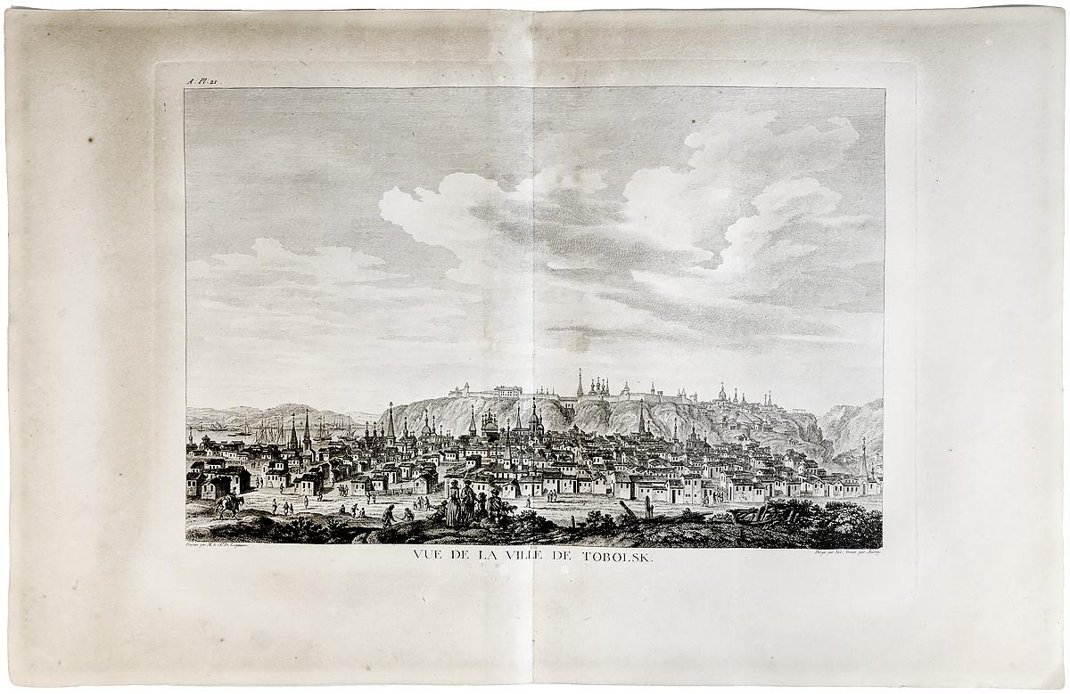 Гравюра Вид города Тобольска. Франция 1790 год вид на замок форт лозанны 3 vue du chateau fort de lausanne гравюра франция 1830 е гг