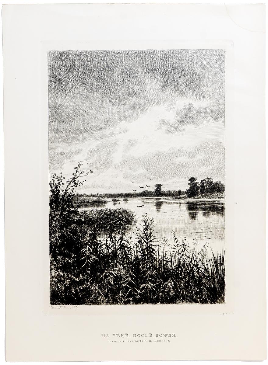 Гравюра И. Шишкин. На реке после дождя. Офорт. Россия 1887 год