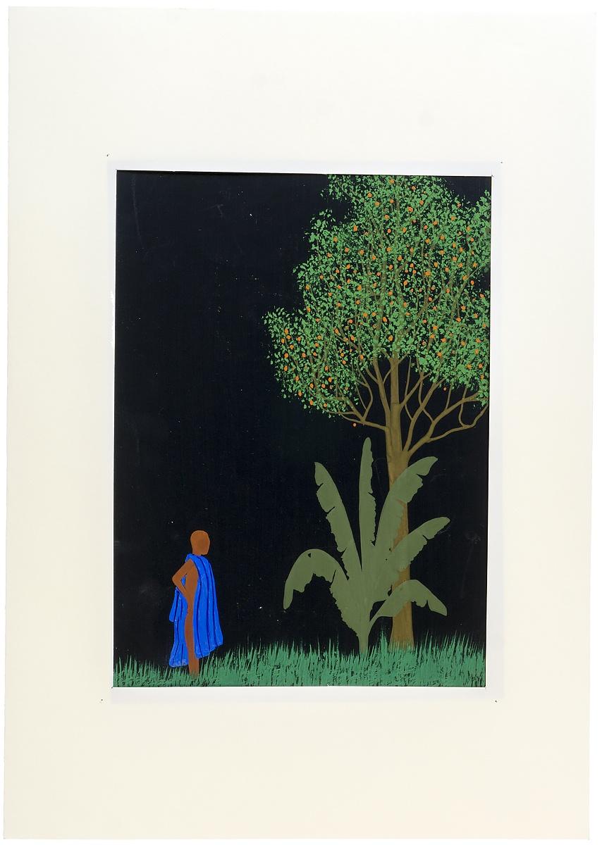 Рисунок  Африканские мотивы. Женщина у дерева. Гуашь белила. СССР 1960-е гг Неизвестный художник. Рисунок из...