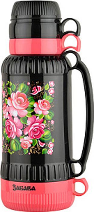 Фото - Термос Забава Жостово, РК-1807, розовый, черный, 1,8 л [супермаркет] jingdong геб scybe фил приблизительно круглая чашка установлена в вертикальном положении стеклянной чашки 290мла 6 z