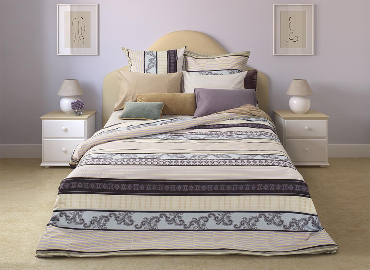 Комплект постельного белья S&J Спокойный сон, 22030118167, бежевый, евро, наволочки 70x70