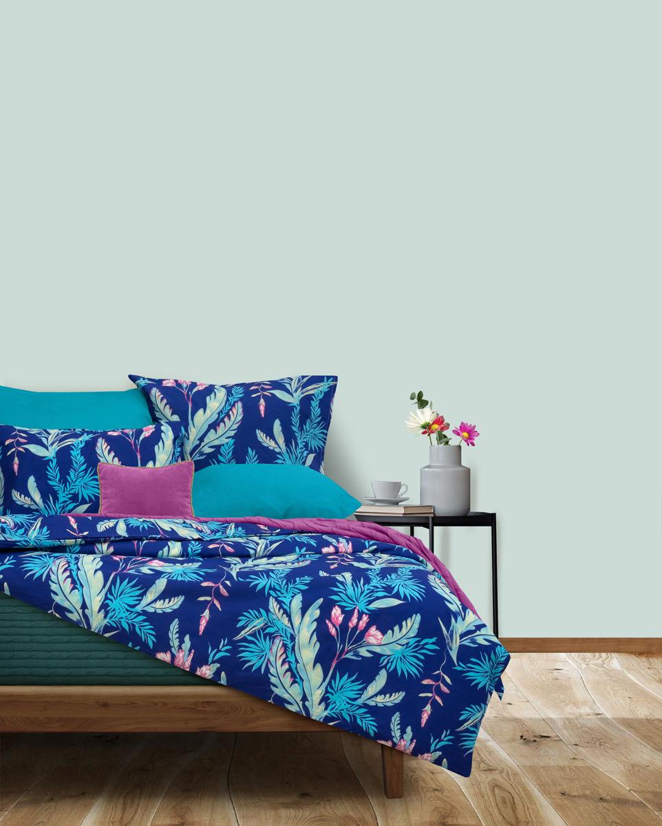 Комплект постельного белья S&J Долина Амазонки, 22030118434, бирюзовый, 2-спальный, наволочки 70x70 кпб 2 х спальный goldtex