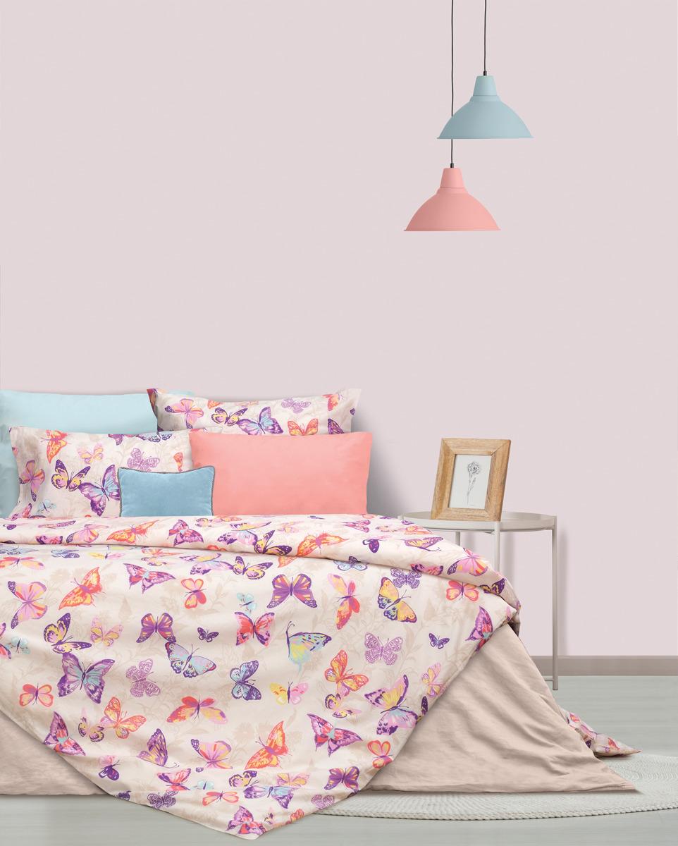 Комплект постельного белья S&J Тропические бабочки, 22030118437, розовый, 2-спальный, наволочки 70x70 кпб 2 х спальный goldtex