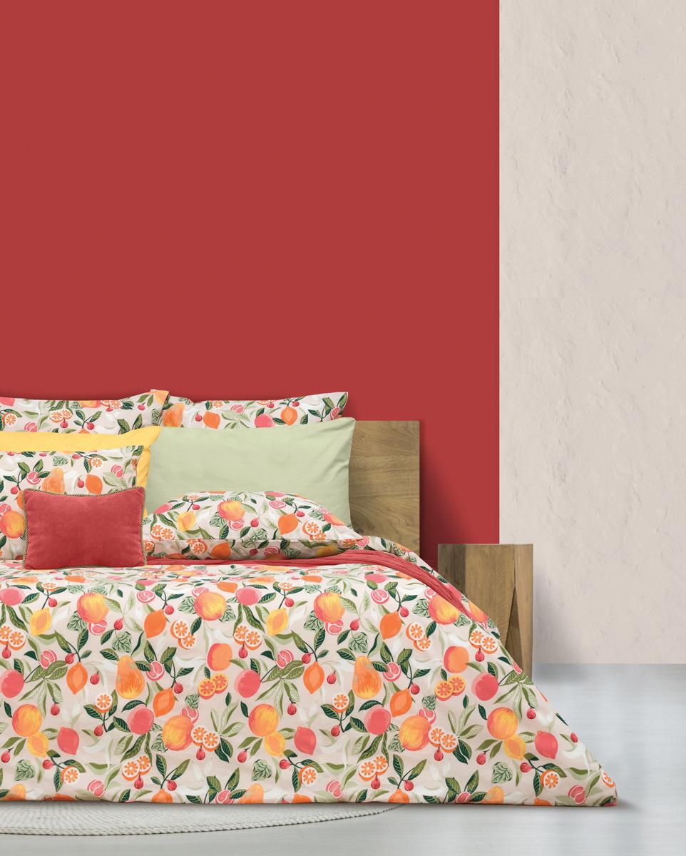 Комплект постельного белья S&J Тайские фрукты, 22030118446, оранжевый, евро, наволочки 70x70 комплект постельного белья tiffany s secret евро сатин букет n70