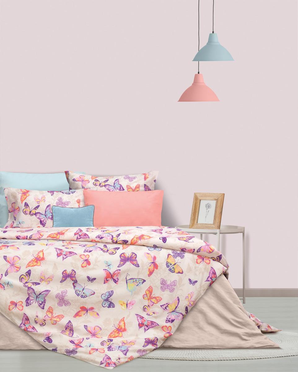 Комплект постельного белья S&J Тропические бабочки, 22030118447, розовый, евро, наволочки 70x70 комплект постельного белья tiffany s secret евро сатин букет n70