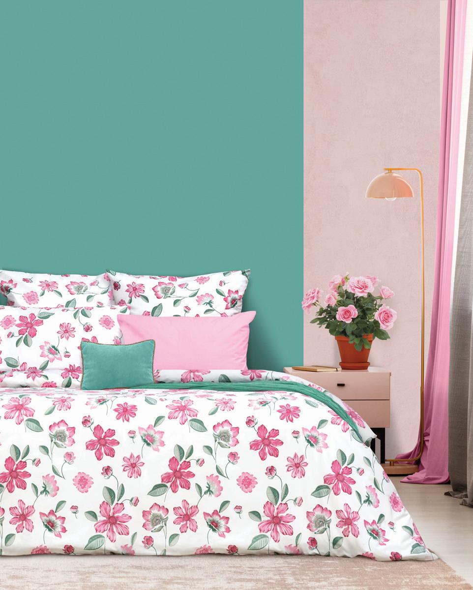 цена Комплект постельного белья S&J Альпийская роза, 22030118448, розовый, семейный, наволочки 50x70 онлайн в 2017 году