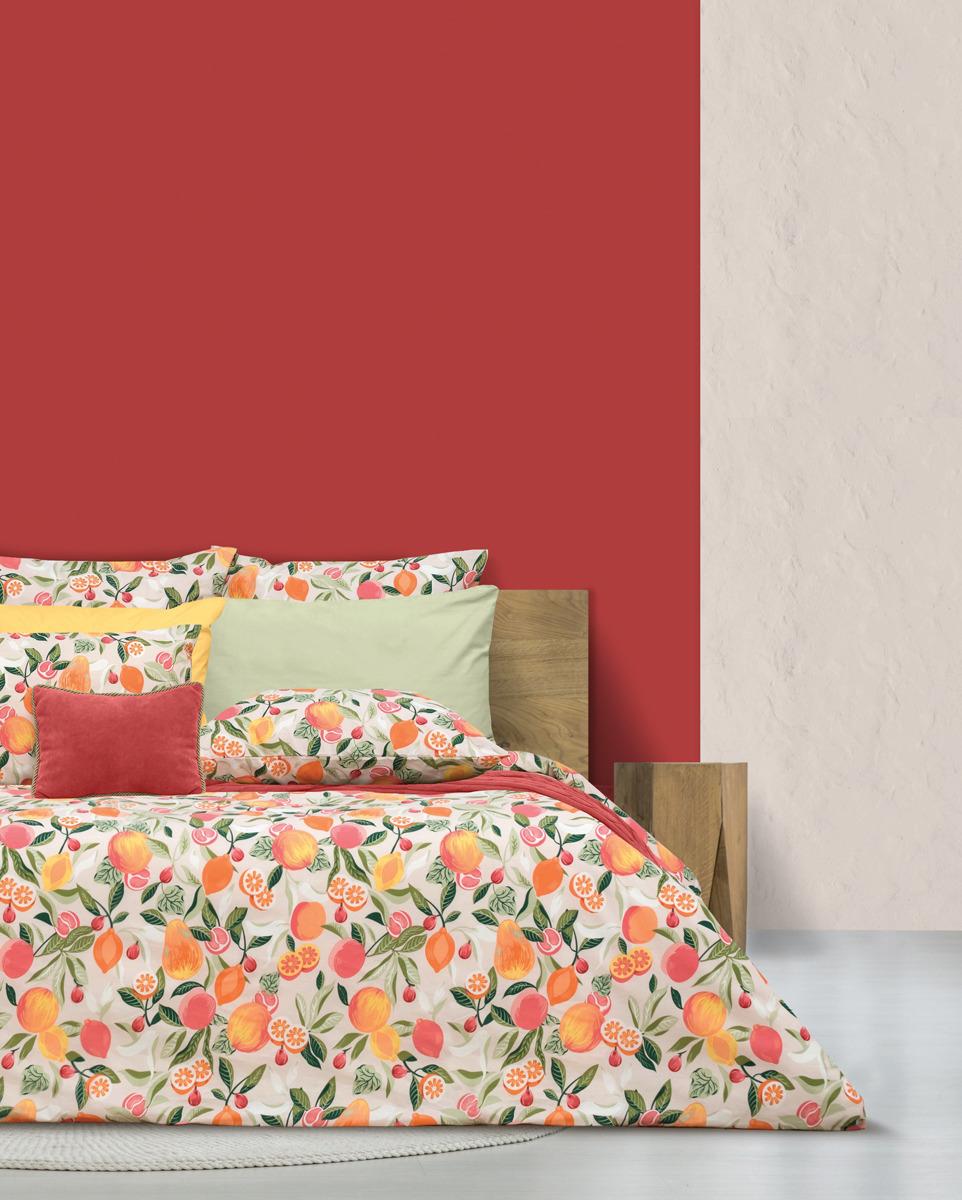 Комплект постельного белья S&J Тайские фрукты, 22030118456, оранжевый, семейный, наволочки 70x70 недорго, оригинальная цена