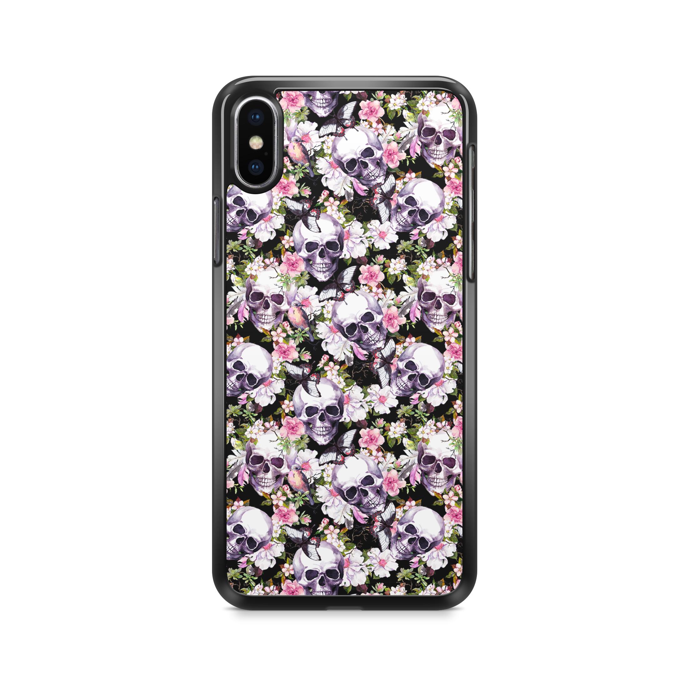 """Чехол для сотового телефона Дайте две! """"Череп и цветы"""" для iPhone X/XS, IPX.CASE-16, разноцветный"""