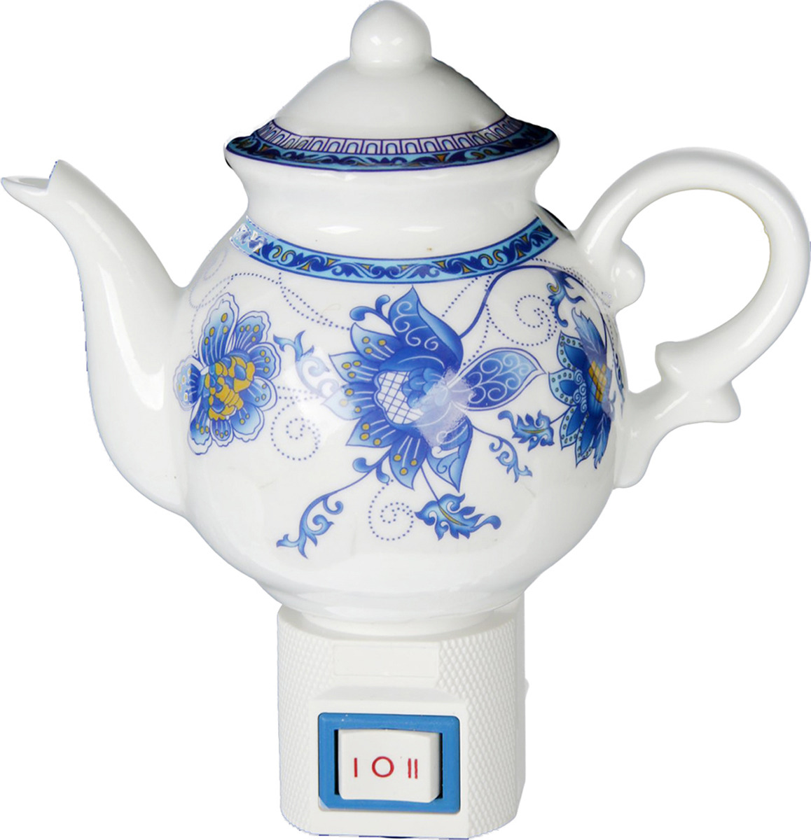 Ночник Risalux Чайничек Синие цветы, 15W, 1935356, белый, 11 х 6 х 13 см цена
