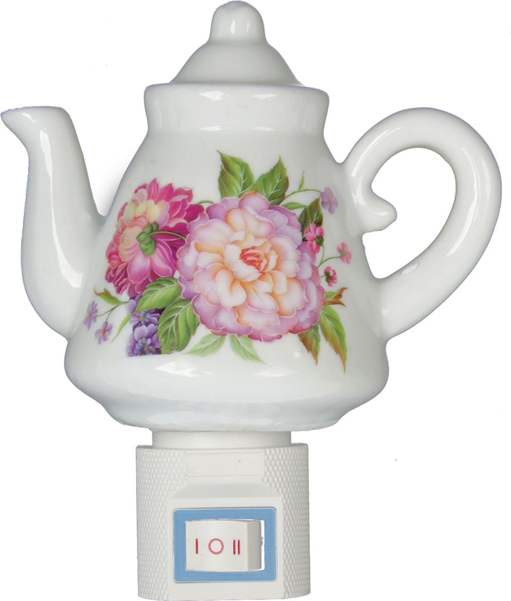 Ночник Risalux Чайничек Цветущий сад, 15W, 1935357, белый, 10 х 5,5 х 12,5 см цена