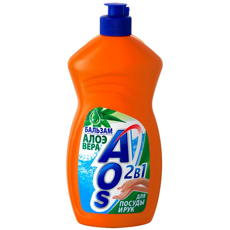 Средство для мытья посуды AOS АЛОЭ , 500мл средство для мытья посуды aos 450 мл бальзам 2в1 в ассорт
