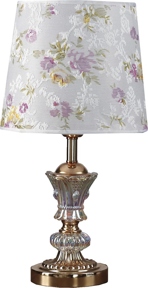 Настольный светильник Risalux Сиреневые цветы E27, E27 настольный светильник risalux резные цветы e27 3736887 бежевый 30 х 30 х 48 см