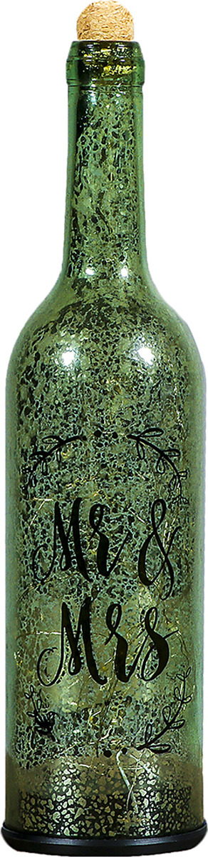 Ночник Risalux Бутыль Mr&Mrs, LED, 3742827, зеленый, 8 х 8 х 32 см настольный светильник risalux орфей e27 3218468 коричневый 28 х 28 х 44 см