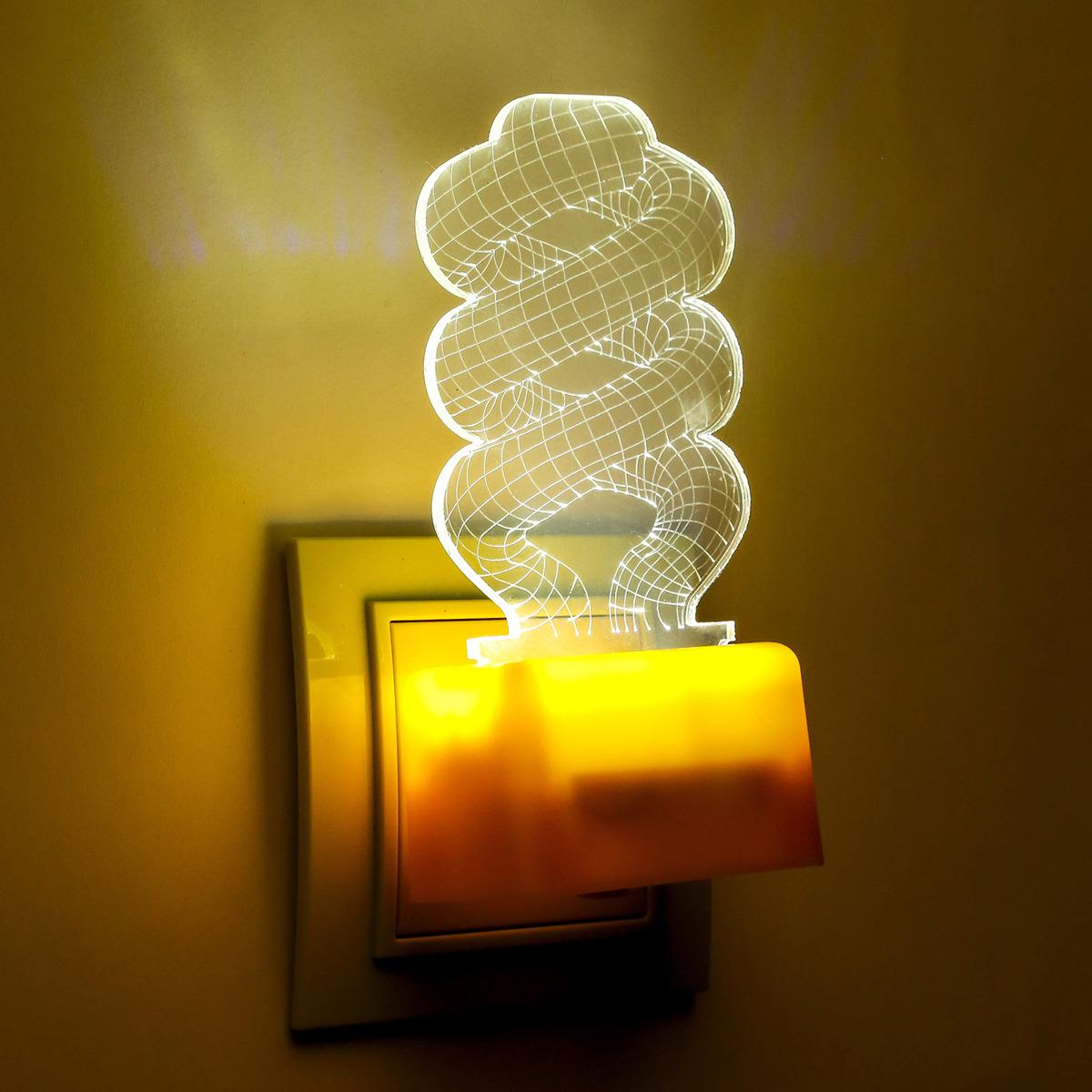 Ночник Risalux Спираль, 3 режима, LED, 3877913, прозрачный, 7 х 8,5 х 14 см