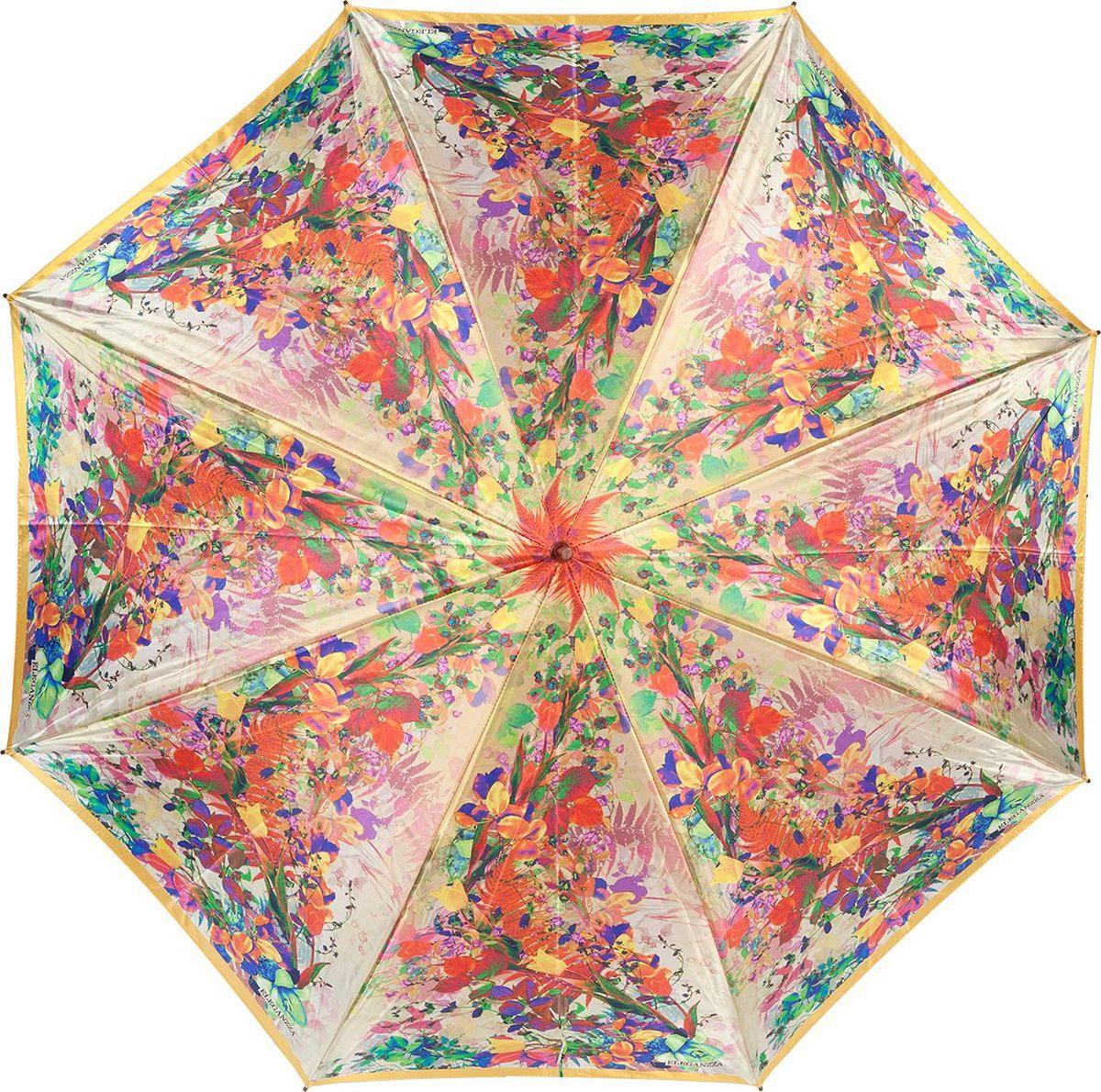 Зонт-трость женский Eleganzza, полуавтомат, Т-06-0337 18, оранжевый цена и фото