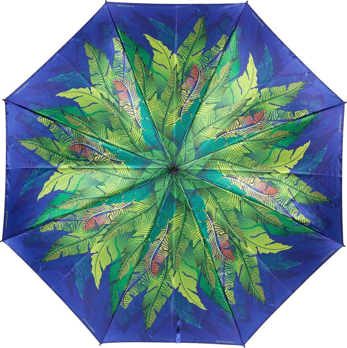Зонт-трость женский Eleganzza, полуавтомат, Т-06-0343 12, синий цена и фото