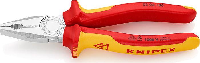 Пассатижи Knipex VDE, KN-0306180, желтый, красный, 180 мм бокорезы knipex kn 1426160