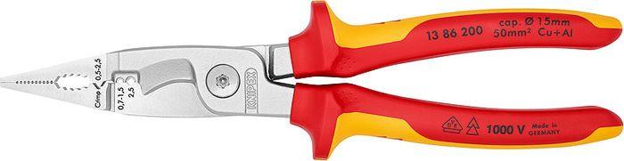 Инструмент для снятия изоляции Knipex VDE, KN-1386200, желтый, красный, 200 мм