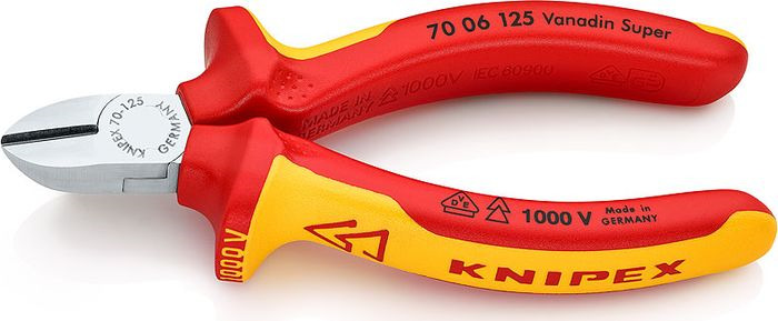 Бокорезы Knipex VDE, KN-7006125, желтый, красный, 125 мм бокорезы knipex kn 1426160