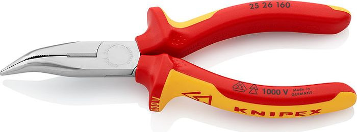 Длинногубцы Knipex VDE, с резцом, KN-2526160, желтый, красный, 160 мм длинногубцы с резцом knipex kn 2625200