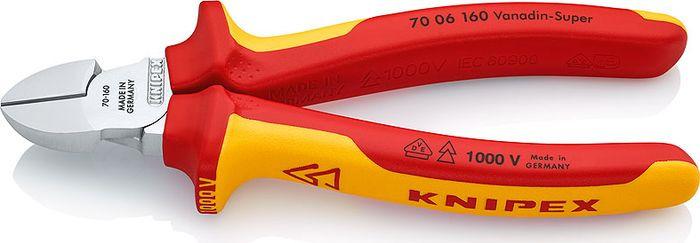 Бокорезы Knipex VDE, KN-7006160, желтый, красный, 160 мм бокорезы knipex kn 1426160