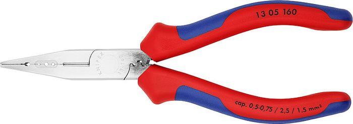 Инструмент для снятия изоляции Knipex, KN-1305160, красный, синий, 160 мм