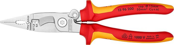 Инструмент для снятия изоляции Knipex, KN-1396200, желтый, красный, 200 мм