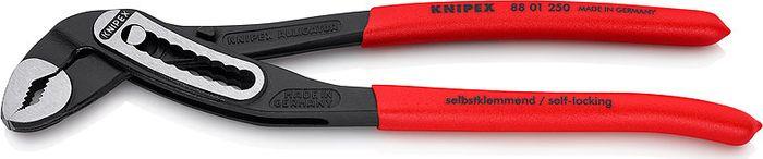 Клещи переставные Knipex Alligator, сантехнические, KN-8801250, красный, 250 ммKN-8801250Больше производительности и удобства в работе по сравнению с обычными сантехническими клещами аналогичной длины: 9-ступенчатая регулировка и увеличенная на 30 % захватывающая способность.Хороший доступ к детали благодаря тонкой конструкции в области головки и шарнира.Функция смыкания губок, которая облегчает работу в узких и труднодоступных местах.Самофиксируются на трубах и гайках: нет скольжения по детали, работа без утомления.Захватные губки со специально закаленными зубцами, твердость зубцов примерно 61 HRC: надежный захват при высокой износостойкости.Коробчатый шарнир: высокая стабильность благодаря двум направляющим.Прочная конструкция, устойчивы к загрязнениям; особенно подходят для работ вне помещения.Специальный механизм предотвращает случайное защемление пальцев.Хромованадиевая электросталь, кованая, закаленная в масле.Черненые, полированныеПротивоскользящие чехлы