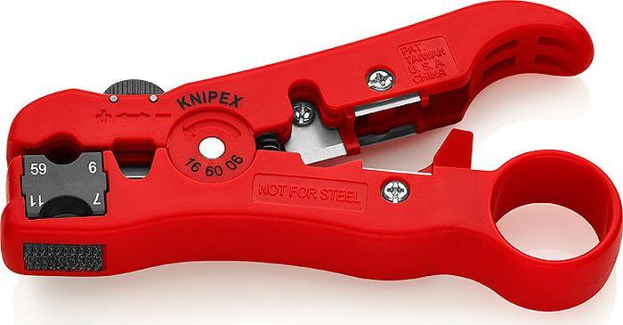 Стриппер коаксиальных кабелей Knipex, KN-166006SB, красный