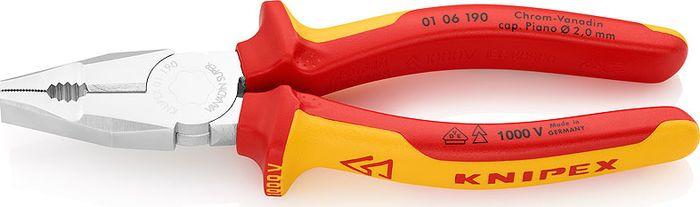 Плоскогубцы Knipex VDE, комбинированные, KN-0106190, желтый, красный, 190 мм цены