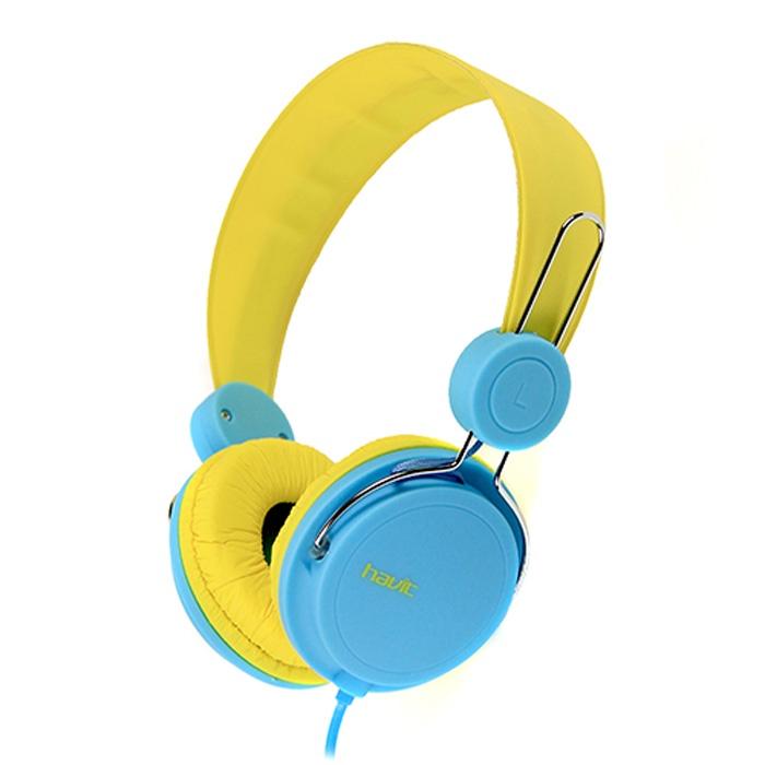 Наушники HAVIT HV-H2198d, голубой, желтый