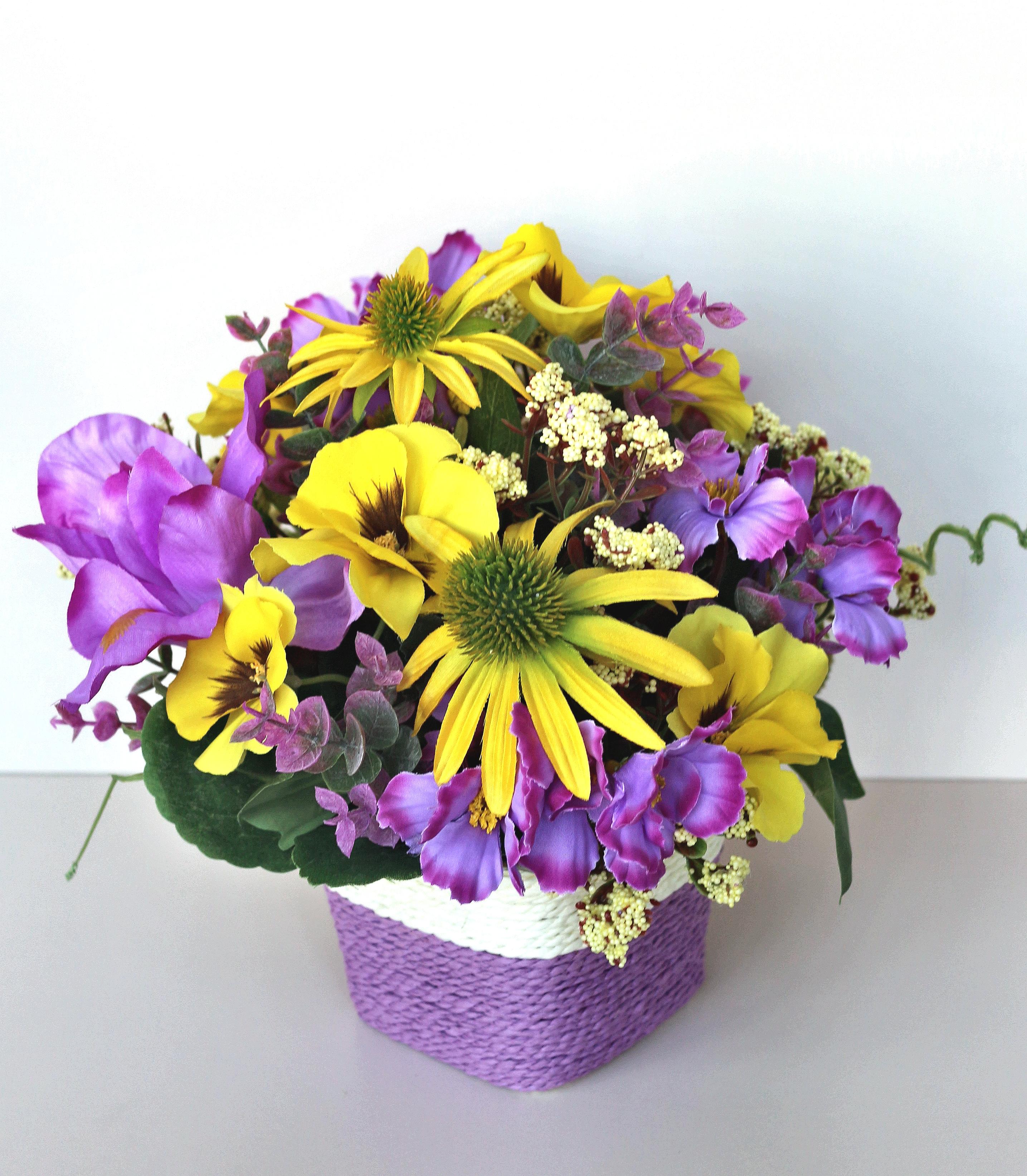 Искусственные цветы 403145, сиреневый, желтый