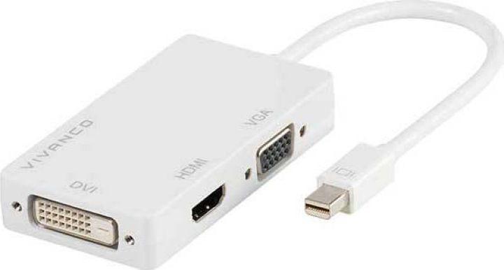 Адаптер-переходник Vivanco CA M 1-3, Mini DP/HDMI/VGA/DVI, белый