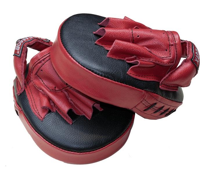 Лапы боксерские Харламов-Спорт Лапы (пара) гнутые большие кожа, темно-синий, красный лапы для восточных единоборств outshock боксерские лапы 100 изогнутые