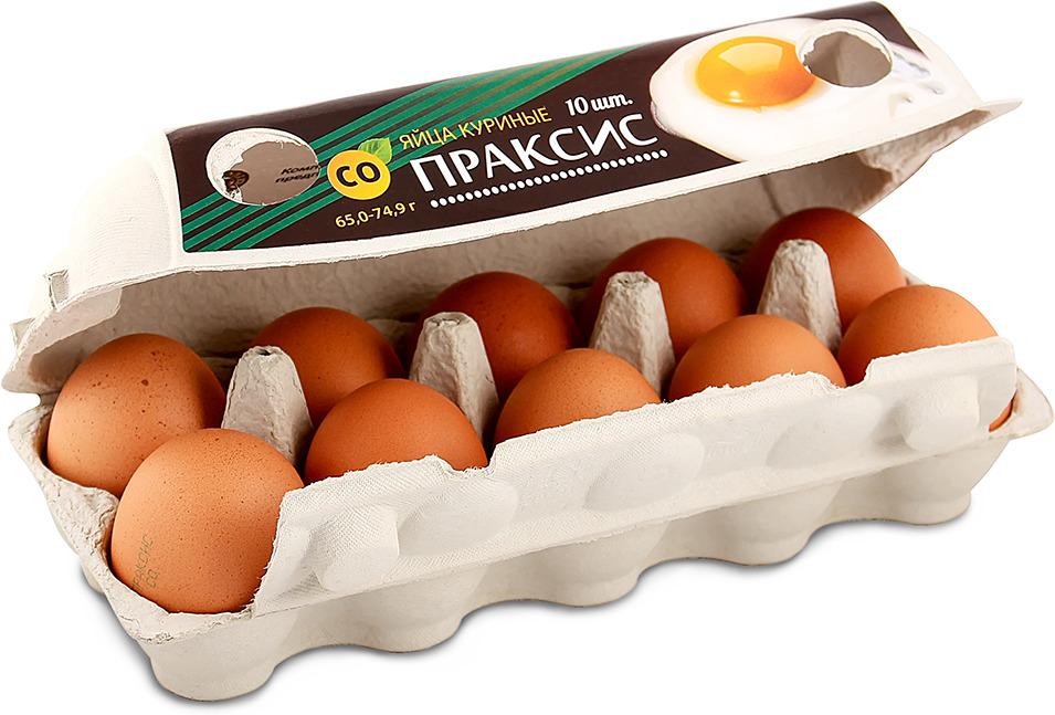 Яйца куриные Праксис, С0, 10 шт Праксис