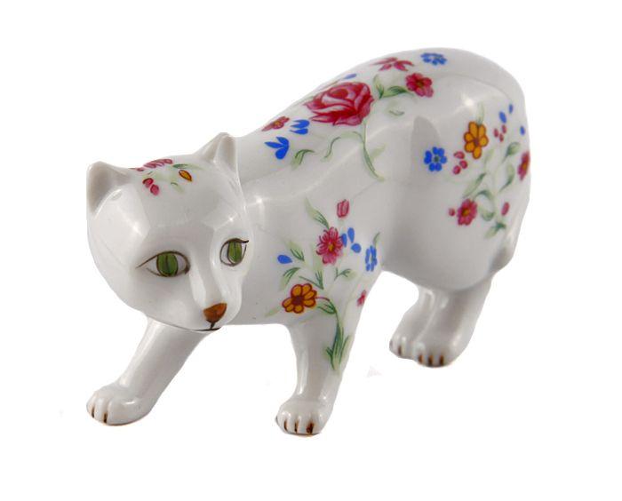 Статуэтка Кошка из серии The Curio Cabinet Cats Collection. Фарфор, роспись. The Franklin Mint, США, конец XX века. статуэтка franklin mint кошка серый
